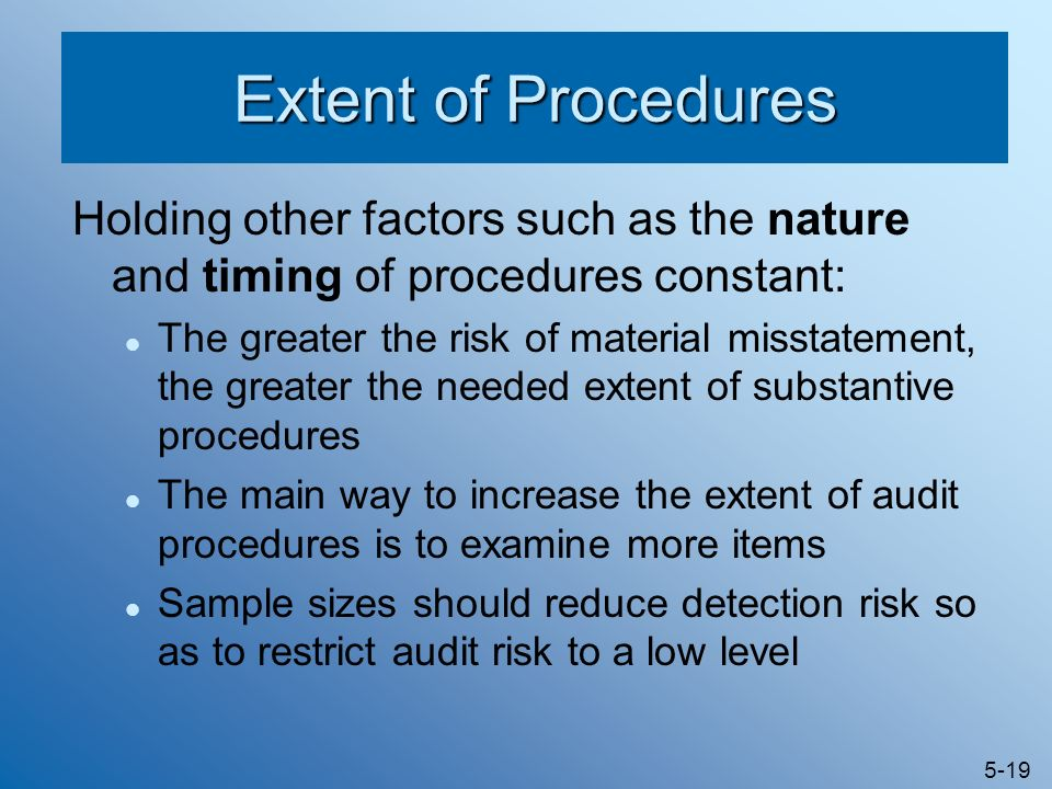 Extent of Procedures Holding other factors such as the nature and timing of procedures constant: