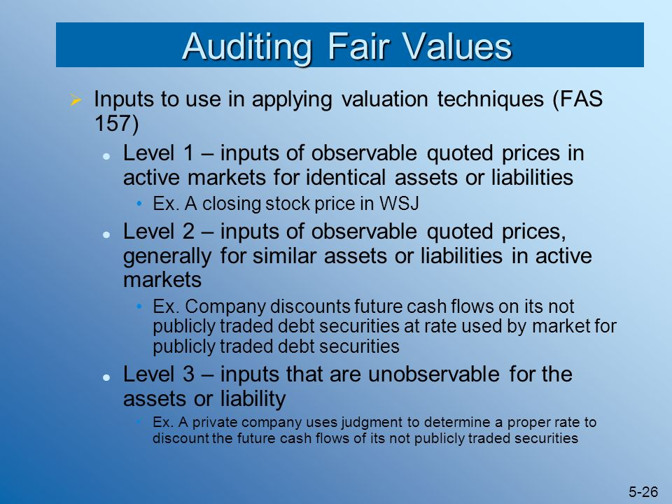 Auditing Fair Values Inputs to use in applying valuation techniques (FAS 157)
