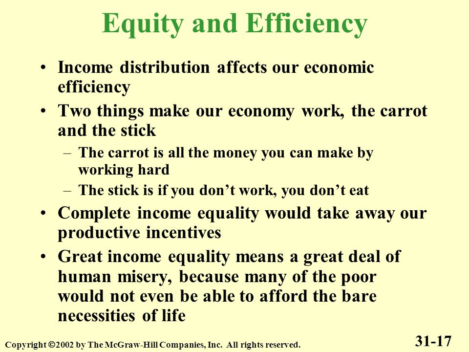 Equity and Efficiency Income distribution affects our economic efficiency. Two things make our economy work, the carrot and the stick.