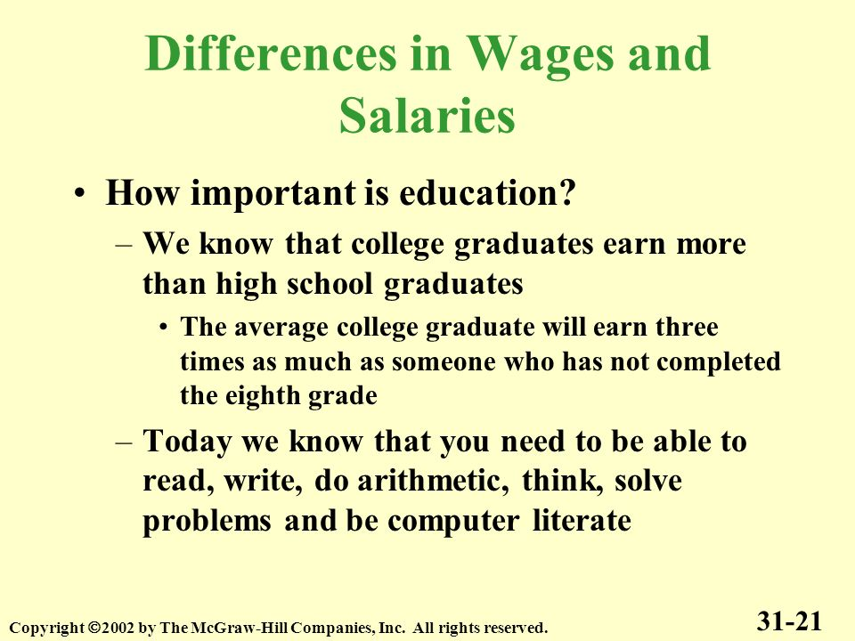 Differences in Wages and Salaries