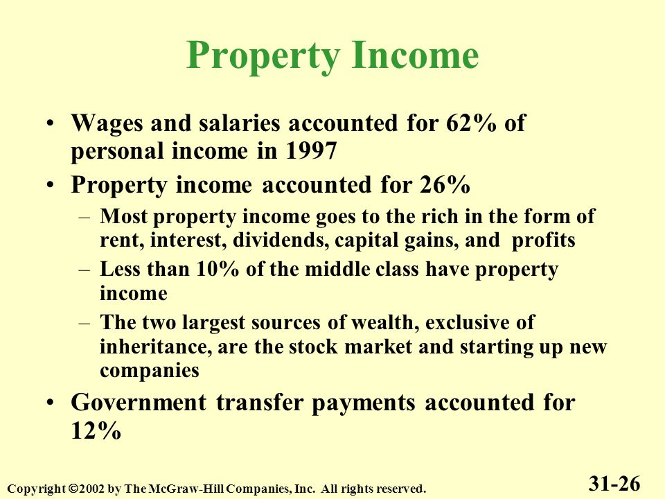 Property Income Wages and salaries accounted for 62% of personal income in 1997. Property income accounted for 26%