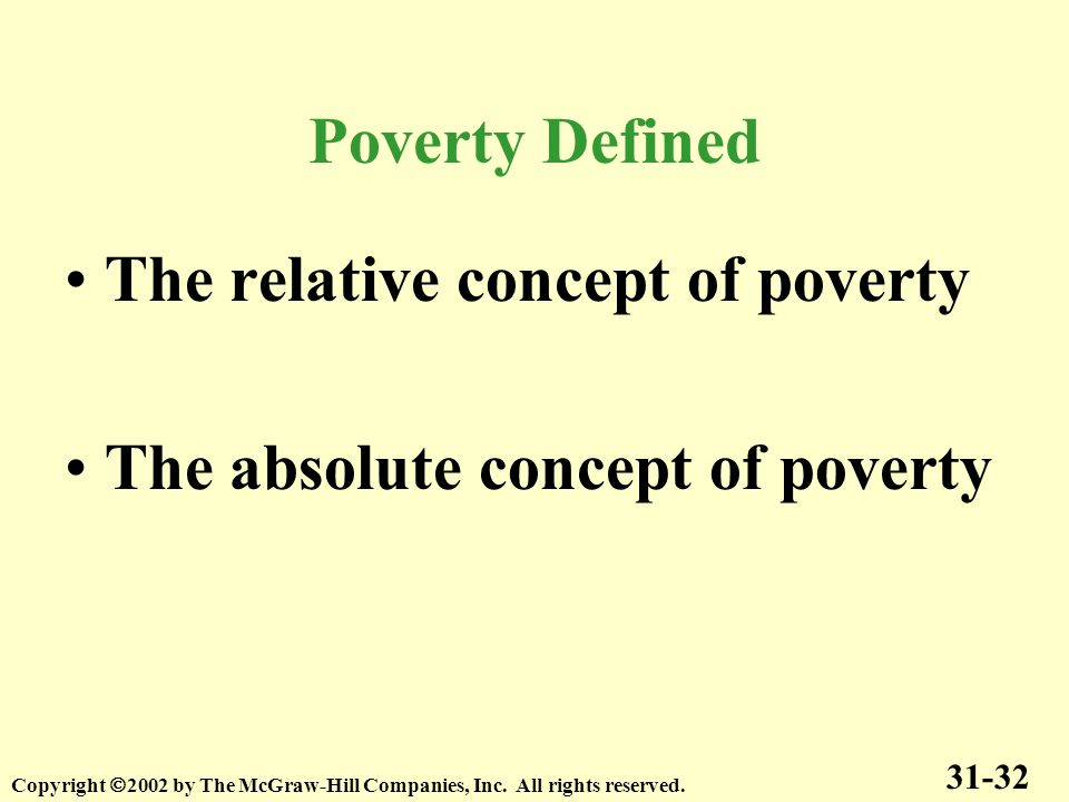 The relative concept of poverty The absolute concept of poverty