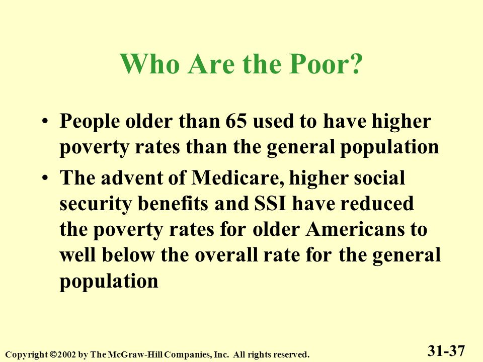 Who Are the Poor People older than 65 used to have higher poverty rates than the general population.