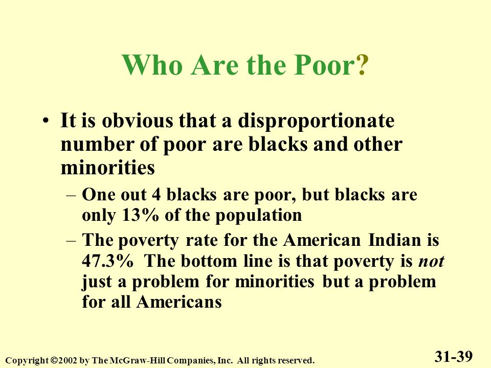 Who Are the Poor It is obvious that a disproportionate number of poor are blacks and other minorities.
