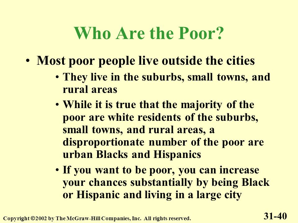 Who Are the Poor Most poor people live outside the cities