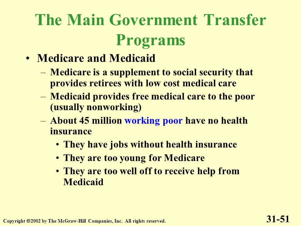 The Main Government Transfer Programs