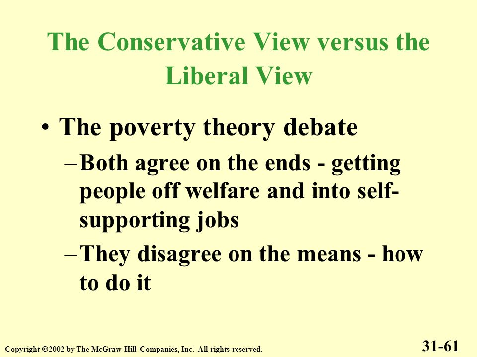 The Conservative View versus the Liberal View