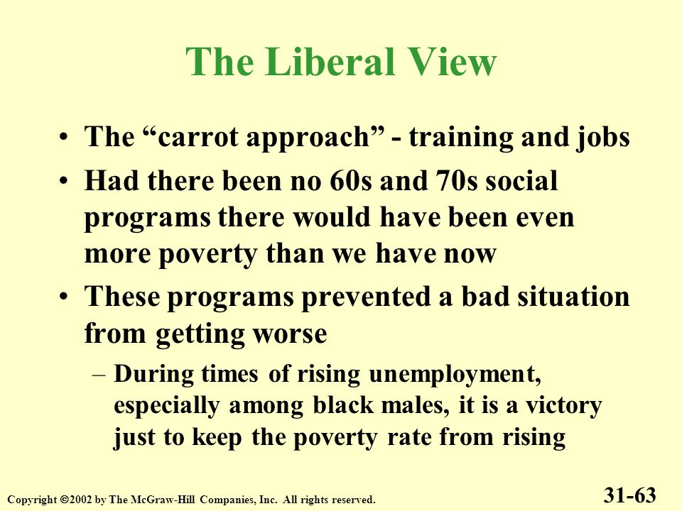 The Liberal View The carrot approach - training and jobs