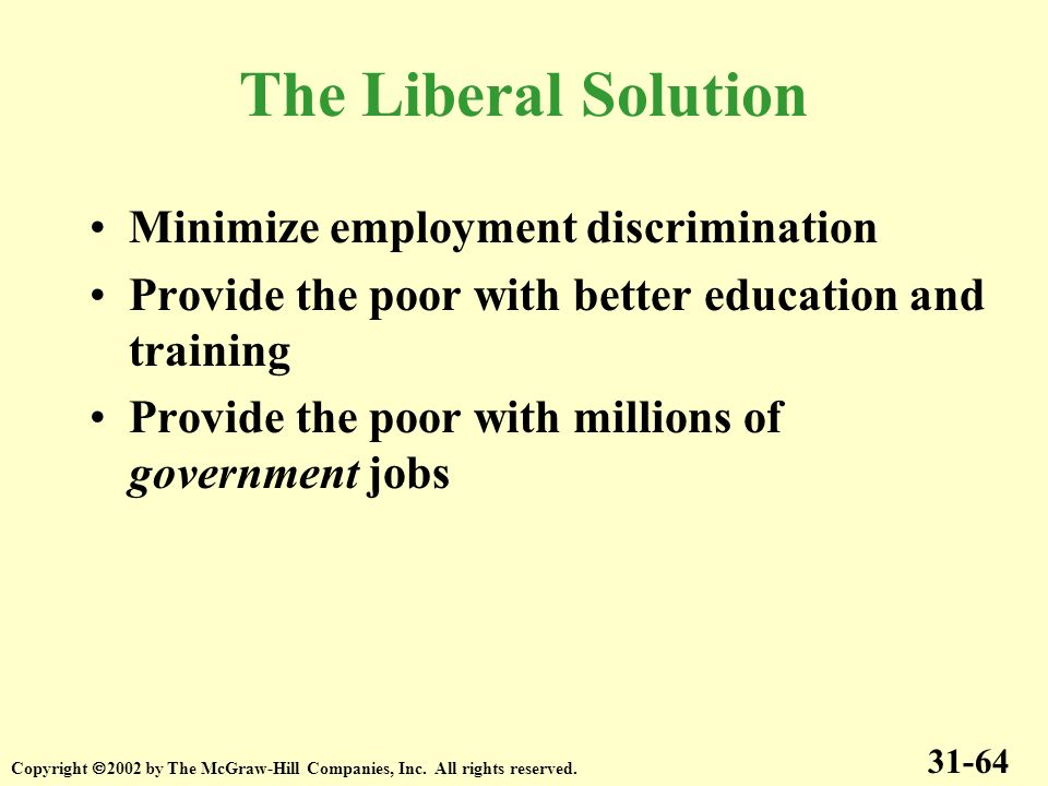 The Liberal Solution Minimize employment discrimination