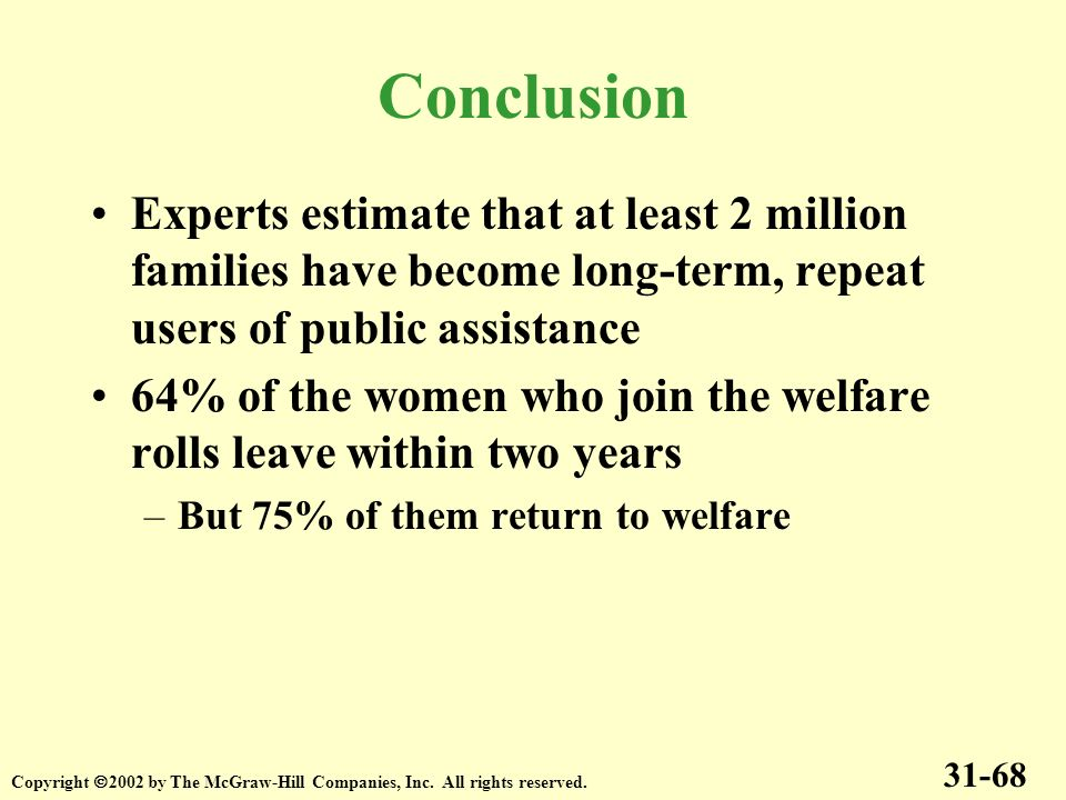 Conclusion Experts estimate that at least 2 million families have become long-term, repeat users of public assistance.