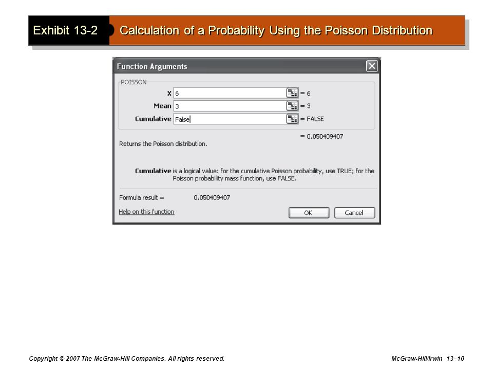 Exhibit 13-2 Calculation of a Probability Using the Poisson Distribution