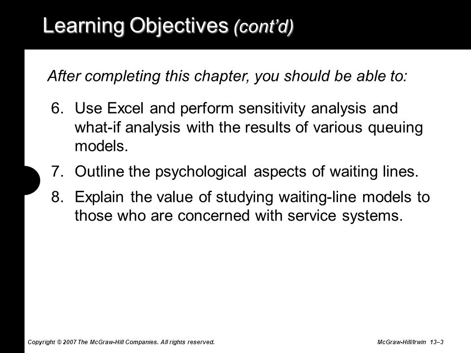Learning Objectives (cont'd)