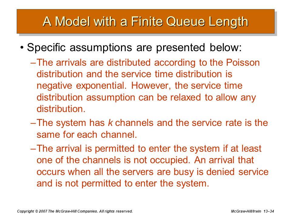 A Model with a Finite Queue Length
