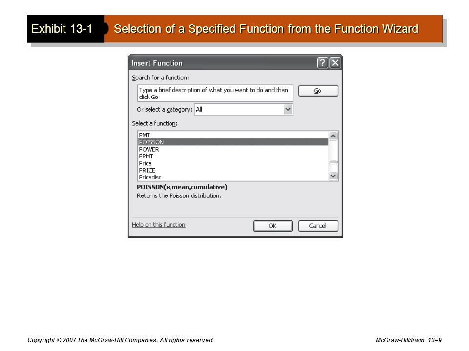 Exhibit 13-1 Selection of a Specified Function from the Function Wizard