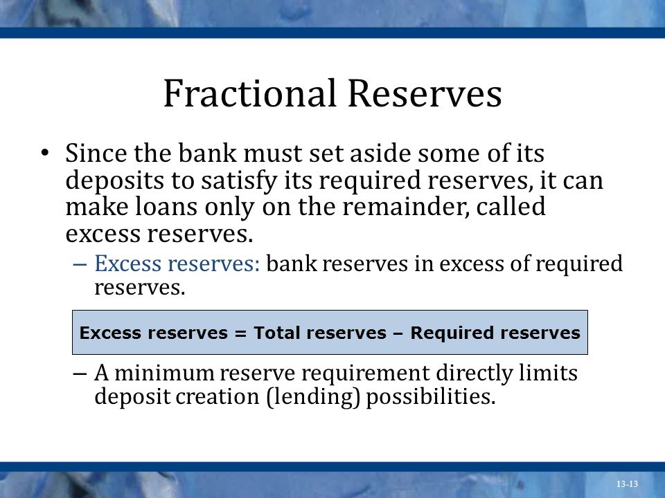 Excess reserves = Total reserves – Required reserves