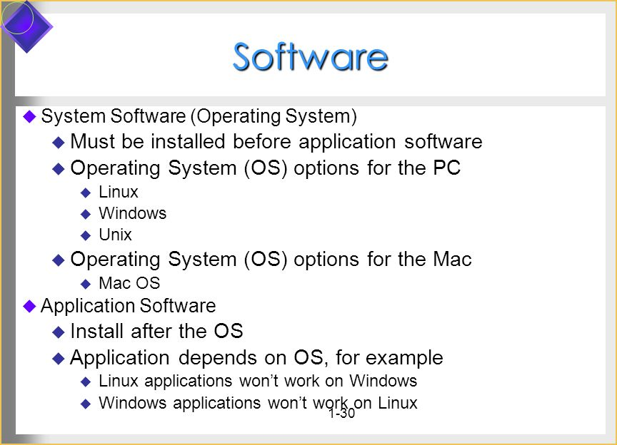 Software Must be installed before application software