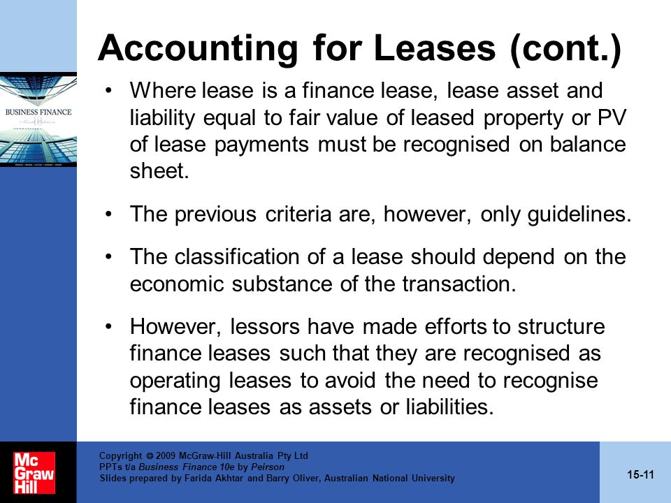 Accounting for Leases (cont.)