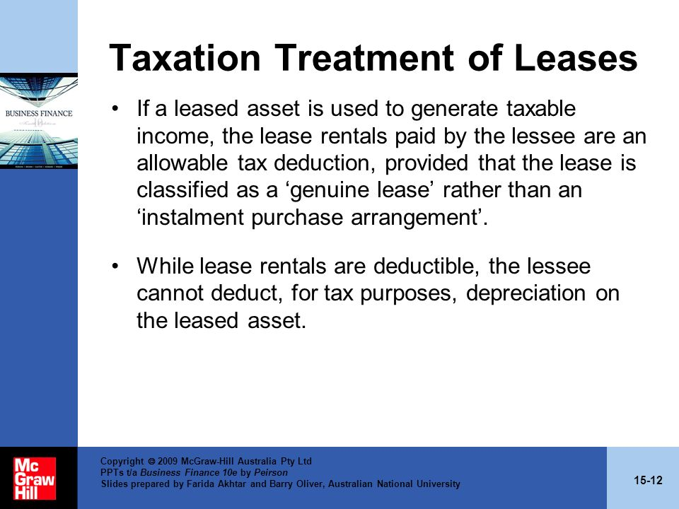 Taxation Treatment of Leases