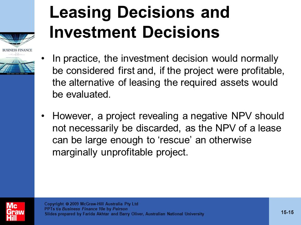 Leasing Decisions and Investment Decisions