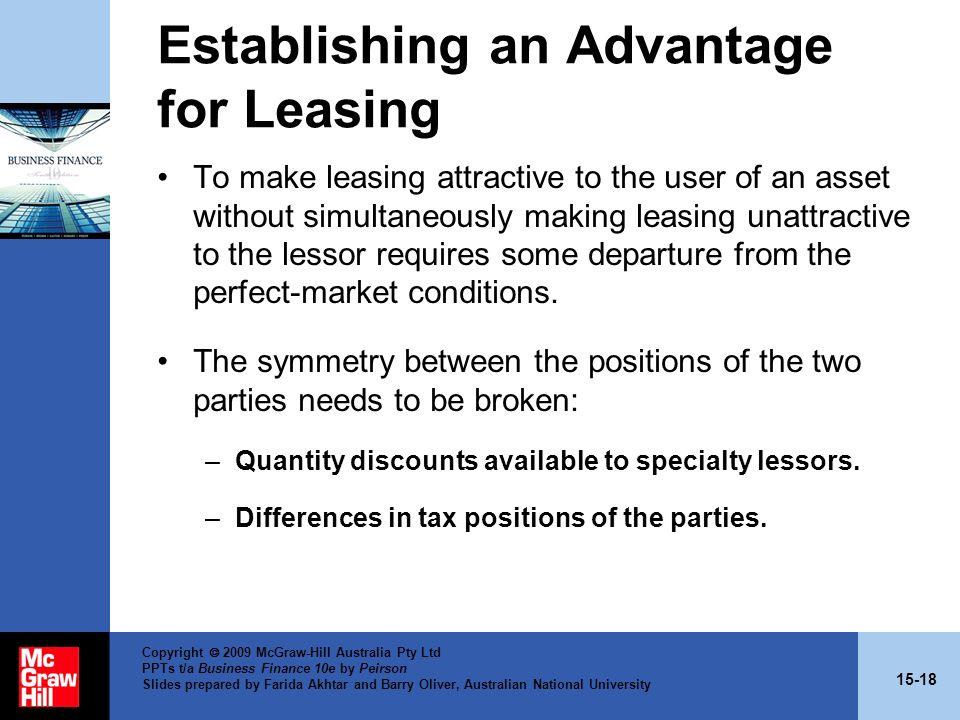 Establishing an Advantage for Leasing