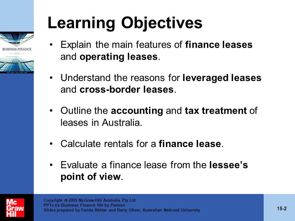 Learning Objectives Explain the main features of finance leases and operating leases.