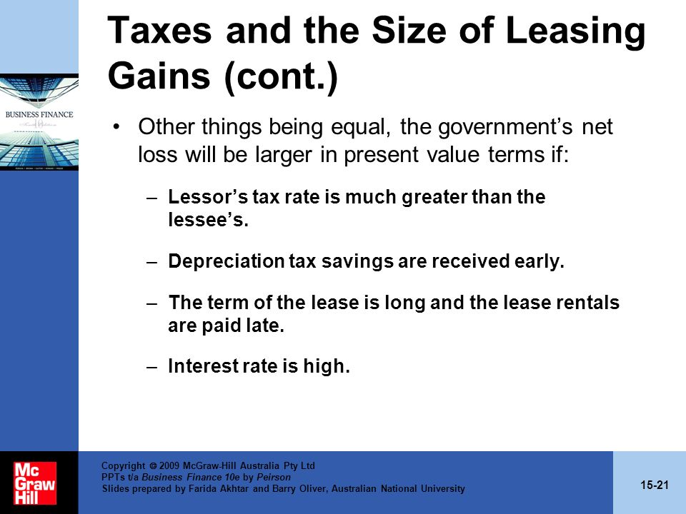 Taxes and the Size of Leasing Gains (cont.)