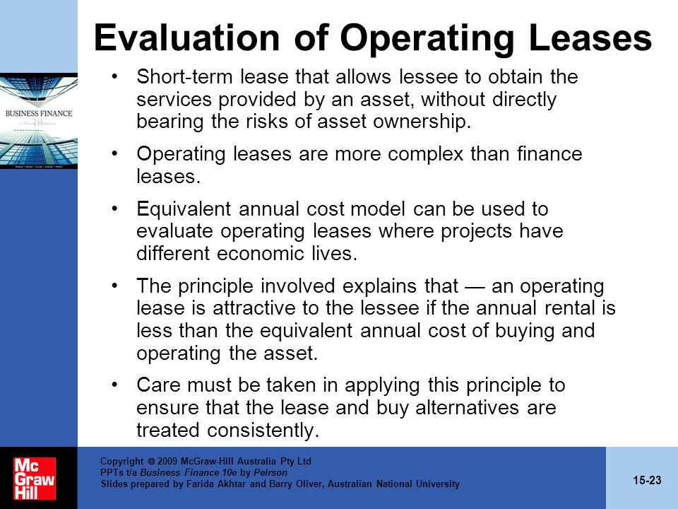 Evaluation of Operating Leases