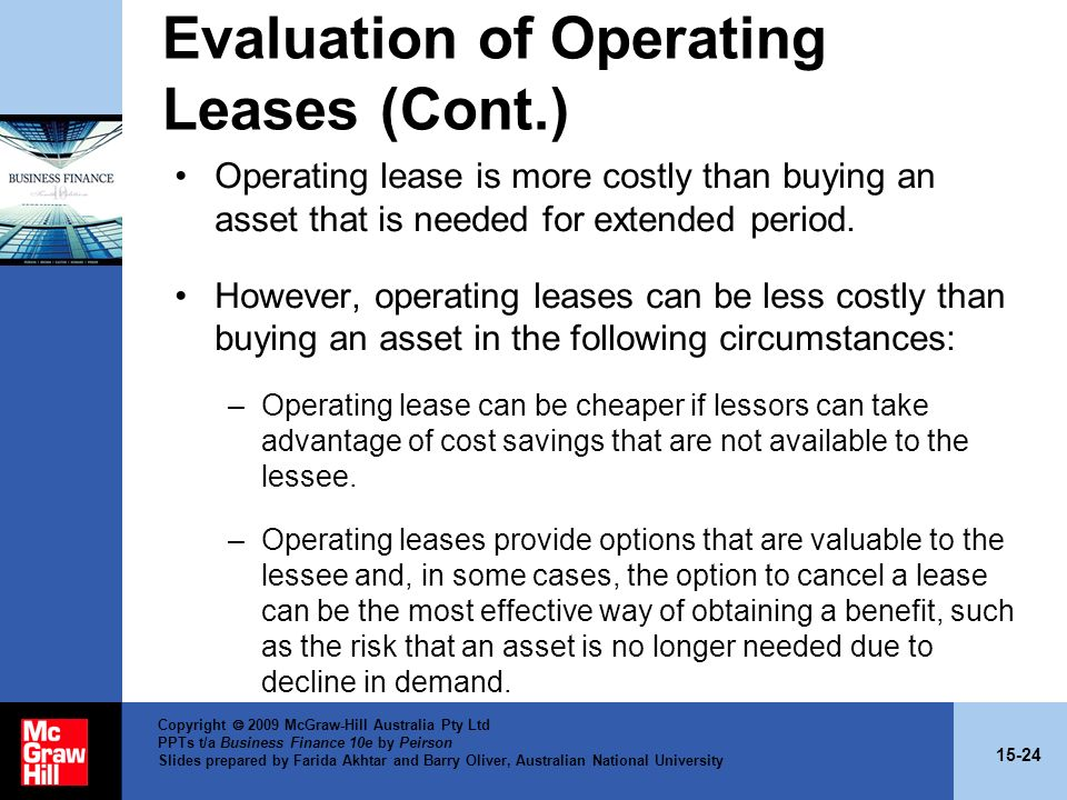 Evaluation of Operating Leases (Cont.)