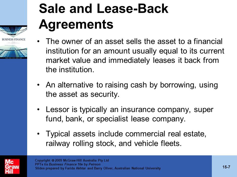 Sale and Lease-Back Agreements