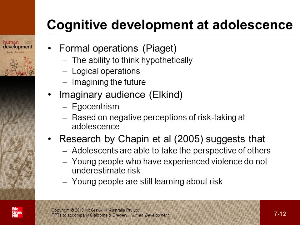 Cognitive development at adolescence
