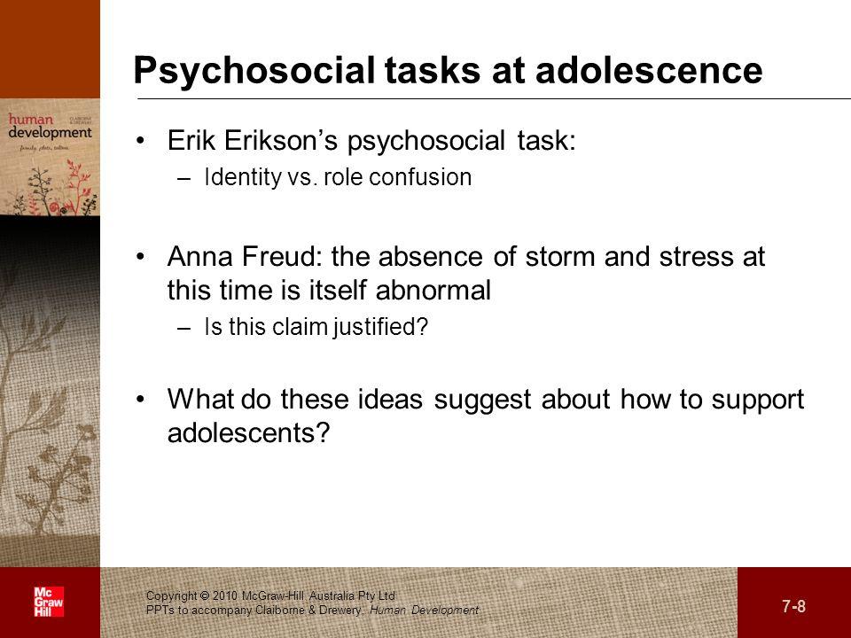Psychosocial tasks at adolescence