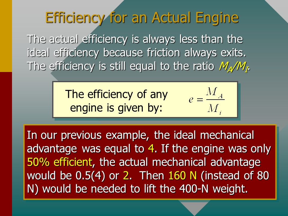 Efficiency for an Actual Engine