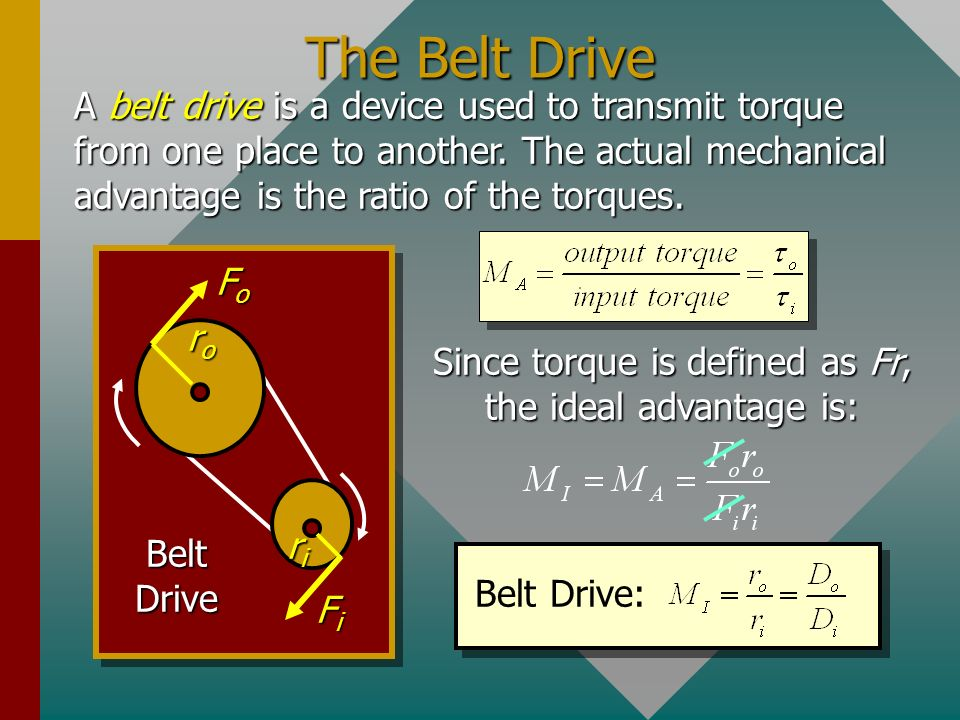 Since torque is defined as Fr, the ideal advantage is: