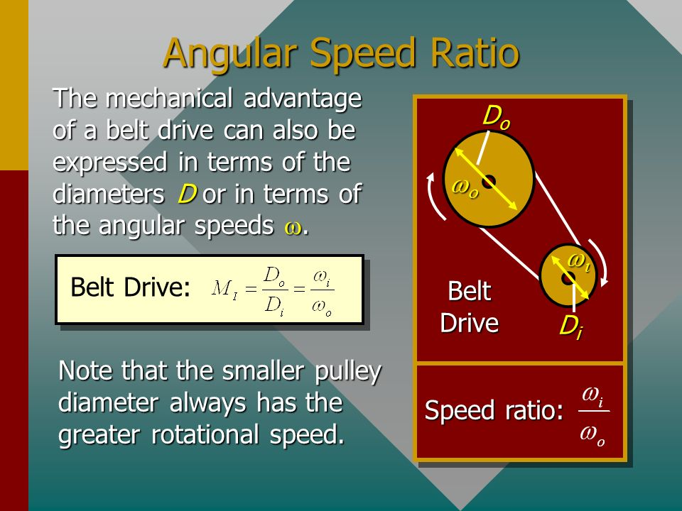 Angular Speed Ratio The mechanical advantage of a belt drive can also be expressed in terms of the diameters D or in terms of the angular speeds w.