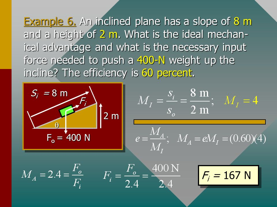 Example 6. An inclined plane has a slope of 8 m and a height of 2 m