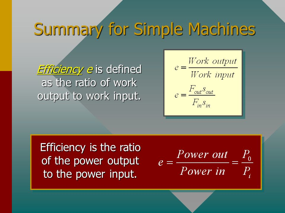 Summary for Simple Machines
