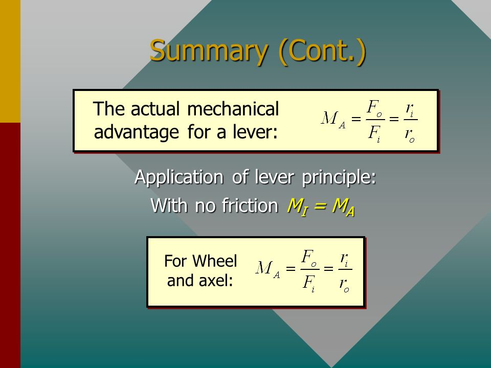 Summary (Cont.) The actual mechanical advantage for a lever: