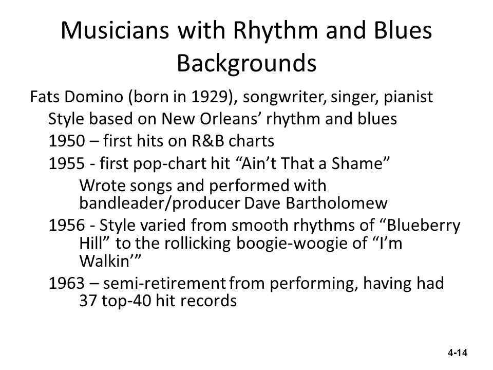 Musicians with Rhythm and Blues Backgrounds