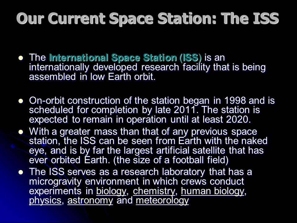 Our Current Space Station: The ISS