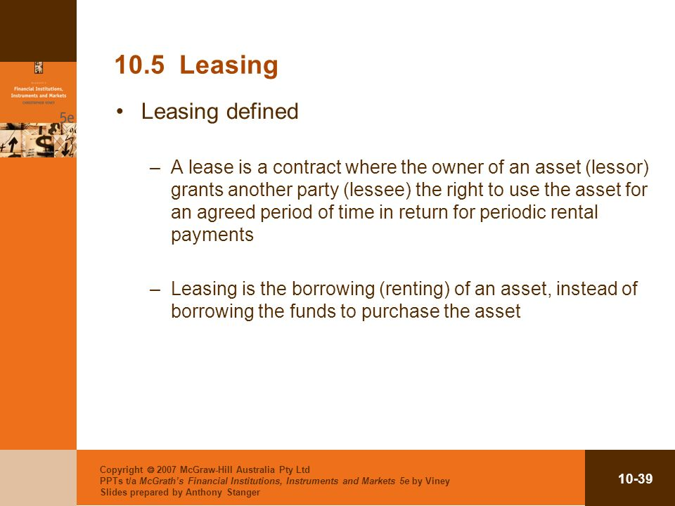 10.5 Leasing Leasing defined