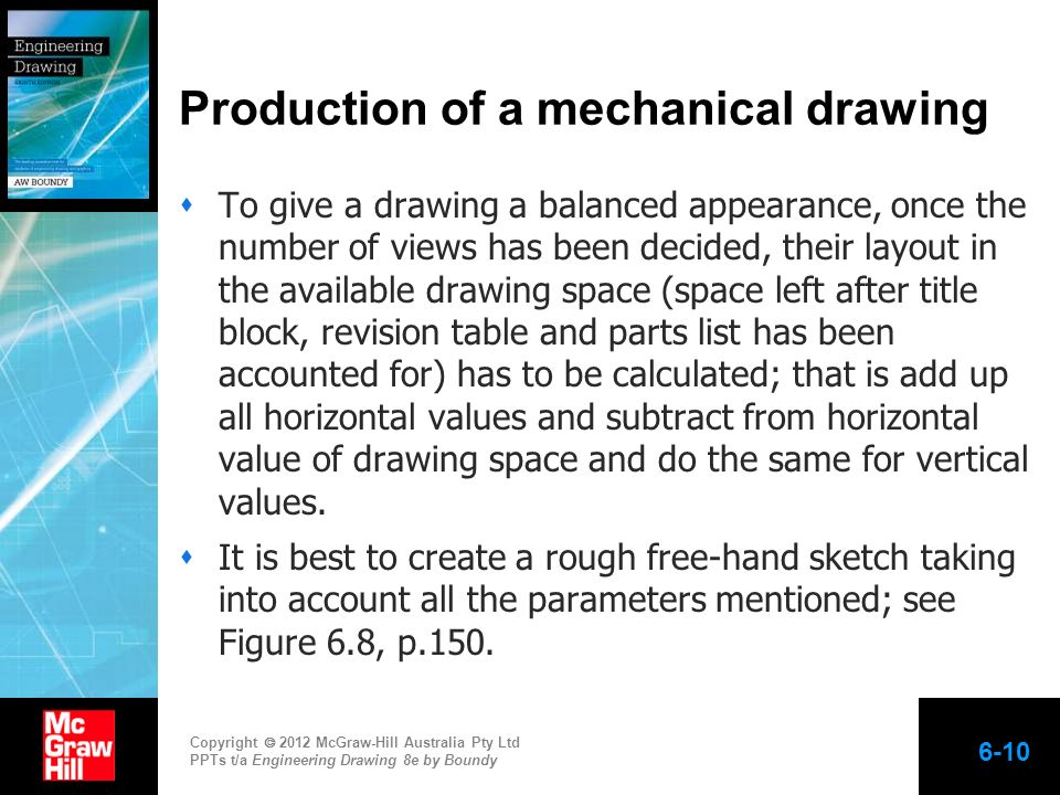 Production of a mechanical drawing