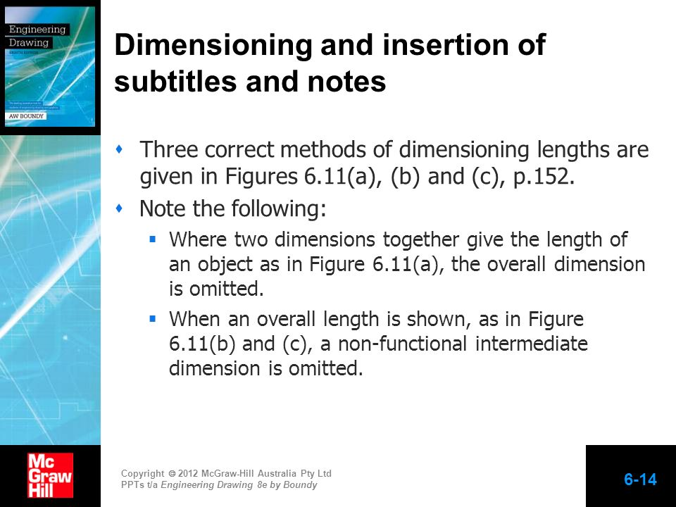 Dimensioning and insertion of subtitles and notes