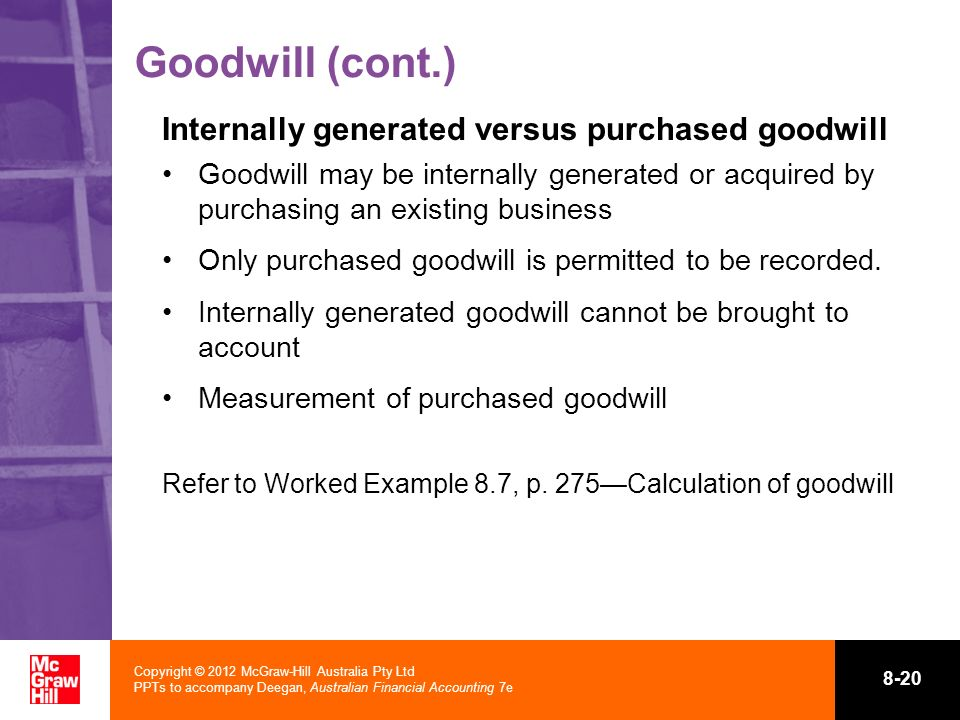 Goodwill (cont.) Internally generated versus purchased goodwill