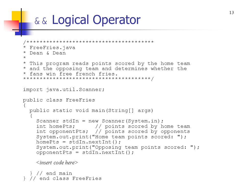 && Logical Operator /***************************************