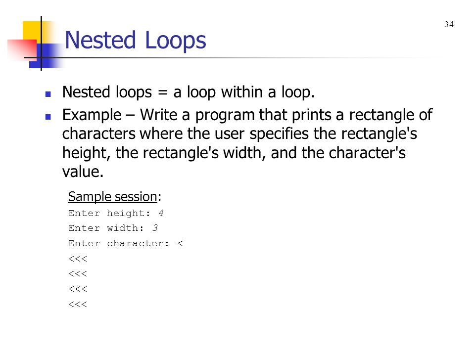 Nested Loops Nested loops = a loop within a loop.