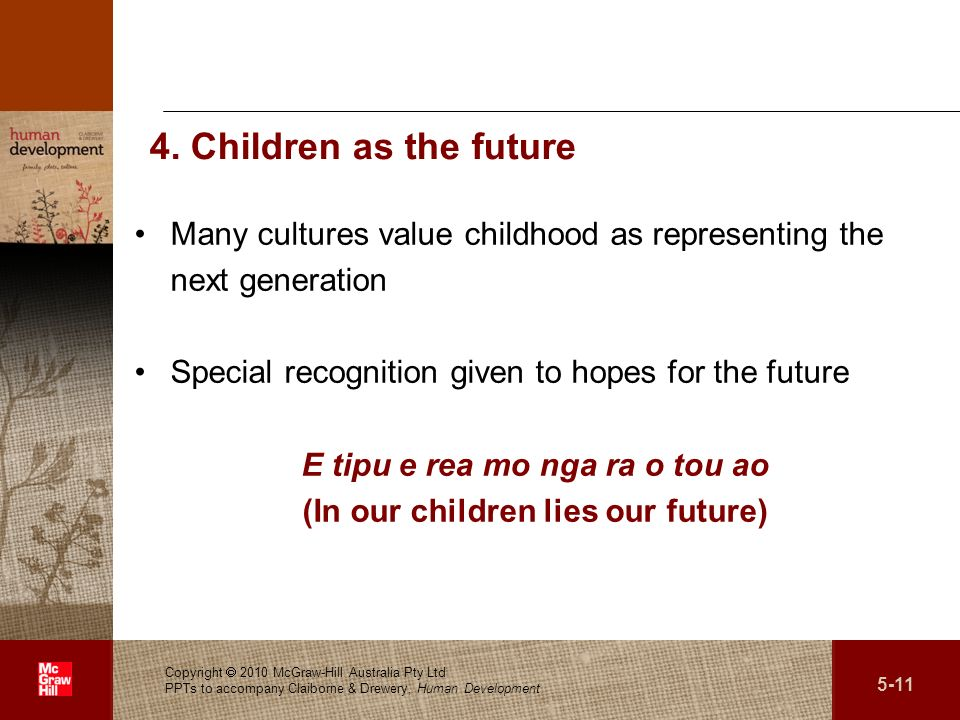 E tipu e rea mo nga ra o tou ao (In our children lies our future)