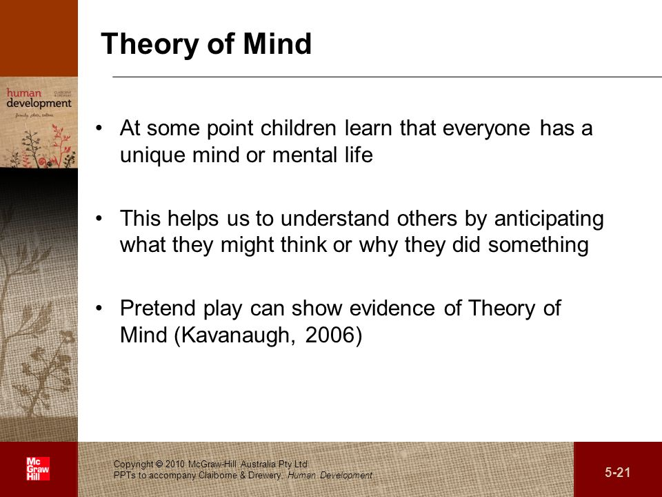 Theory of Mind At some point children learn that everyone has a unique mind or mental life.
