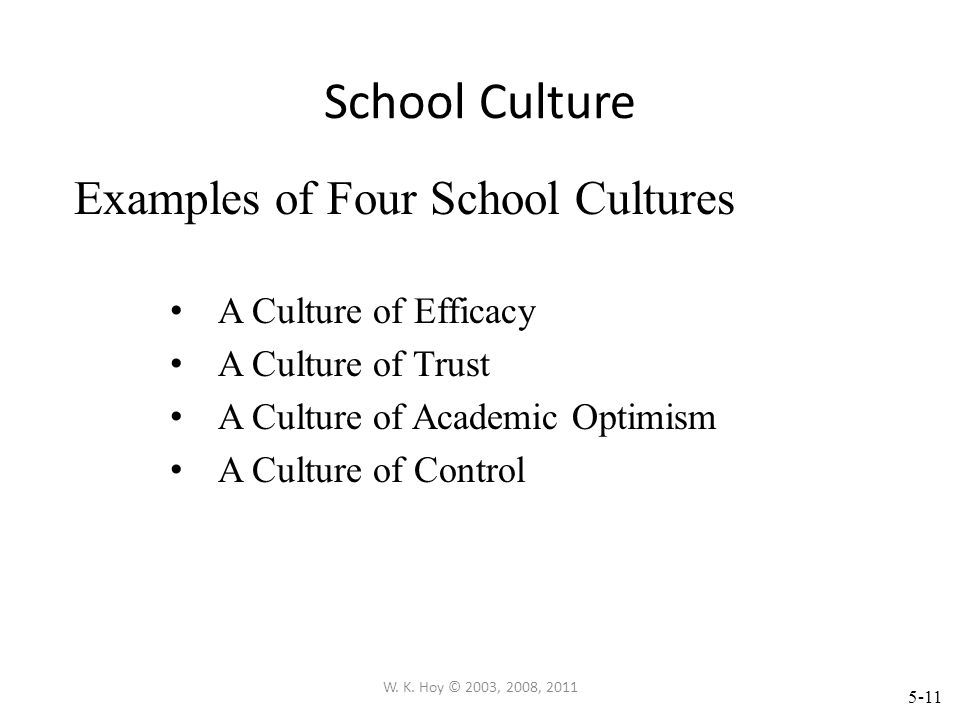 School Culture Examples of Four School Cultures A Culture of Efficacy