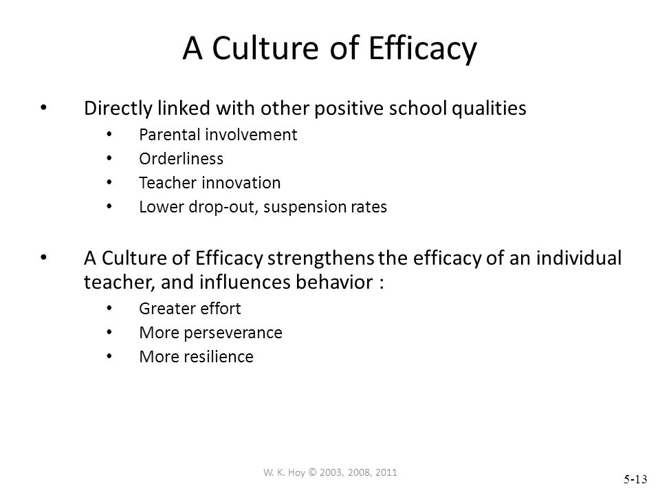 A Culture of Efficacy Directly linked with other positive school qualities. Parental involvement. Orderliness.