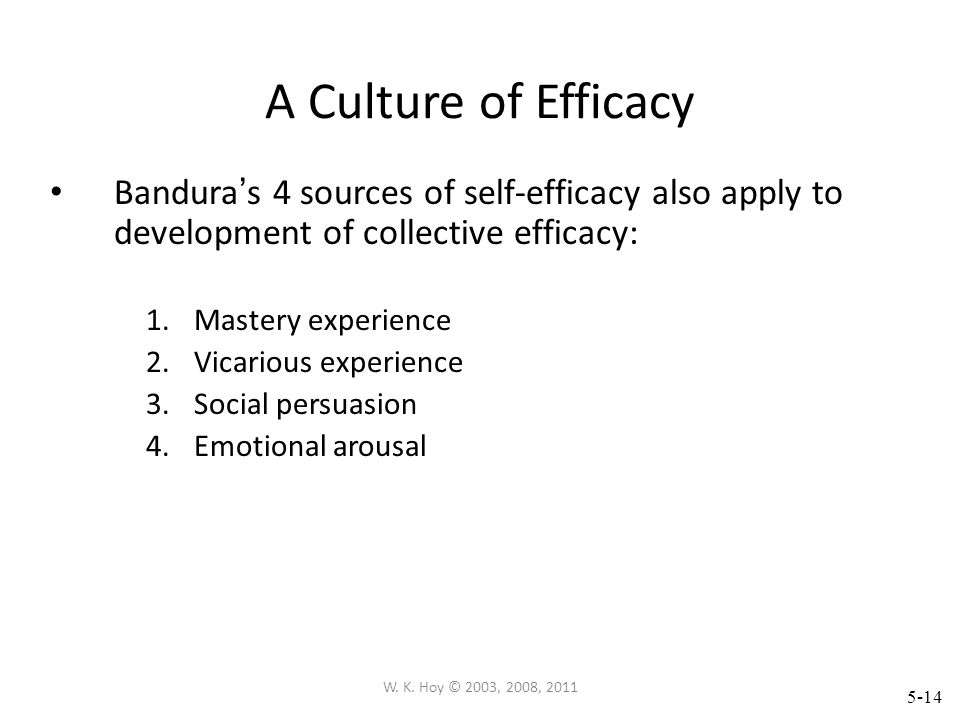 A Culture of Efficacy Bandura's 4 sources of self-efficacy also apply to development of collective efficacy: